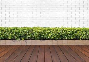 piso de madeira com plantas e parede de tijolos brancos