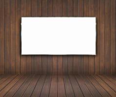 sala de madeira com outdoor em branco foto