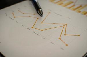 gráfico e caneta foto