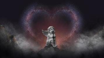 Via Láctea e estátua de anjo foto