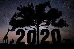 silhueta do número 2020 e animais em um fundo com estrelas foto