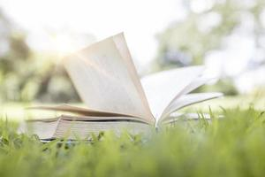 livro aberto na grama verde