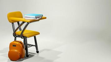 Renderização 3D de material escolar