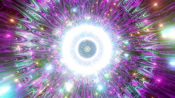Luzes e formas azuis, roxas e brancas na ilustração 3D do caleidoscópio para plano de fundo ou papel de parede