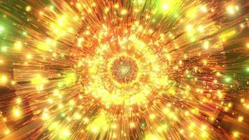 Luzes verdes e laranja e formas na ilustração 3D do caleidoscópio para o fundo ou papel de parede