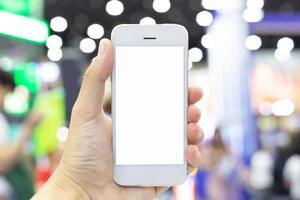 celular branco com tela em branco foto