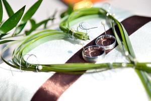 alianças de casamento com fita marrom e folhas verdes