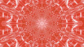 desenho de caleidoscópio de ilustração 3D vermelha e branca para o fundo ou papel de parede