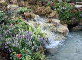 flores e cachoeira no jardim interno