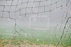 rede de futebol em um campo