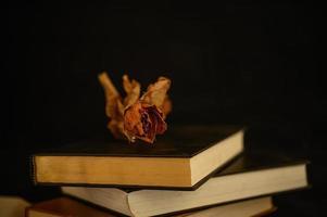 natureza morta com livros em forma de coração e flores secas foto