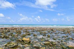 mar com pedras e céu azul