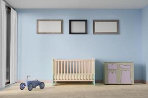 Renderização 3D do quarto do bebê com porta-retratos foto