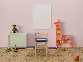 mock up poster na sala de jogos infantil, renderização em 3D foto
