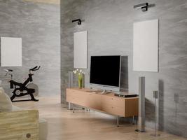 Renderização em 3D de dois pôsteres vazios de simulação na sala de estar foto
