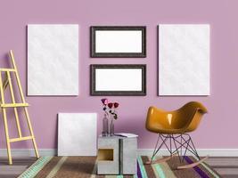 Renderização em 3D de modelos de pôsteres e molduras em uma sala de estar