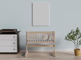 Renderização em 3D de um pôster de simulação em um quarto de bebê