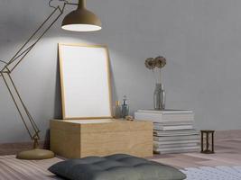 mock up poster em quarto escuro com lâmpada foto