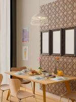 Renderização 3D do interior da sala de jantar moderna com três molduras simuladas foto