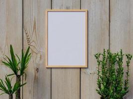mock up frame na parede de madeira