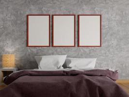 mock up pôsteres no quarto, renderização em 3D foto