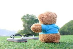 ursinho de pelúcia sentado na grama com sandálias