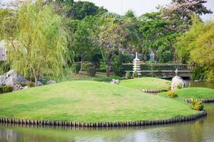 gramado e lagoa no parque