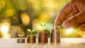 mãos humanas segurando moedas e plantas brotando na pilha de moedas de ideias financeiras e crescimento de negócios foto