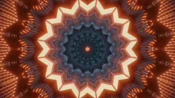 ilustração do projeto do caleidoscópio do túnel 3D vermelho, azul e laranja para o fundo ou papel de parede foto