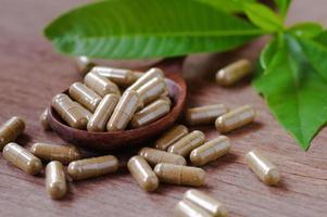 cápsulas de medicamentos fitoterápicos foto