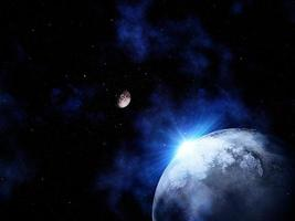 Cena do espaço 3D com luz brilhando atrás de um planeta fictício