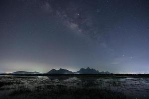 Via Láctea sobre as montanhas