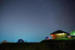 céu estrelado acima de um acampamento