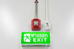 alarme de proteção contra incêndio e sinal de saída de emergência