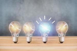 a energia da ideia e a lâmpada no fundo da parede de cimento foto