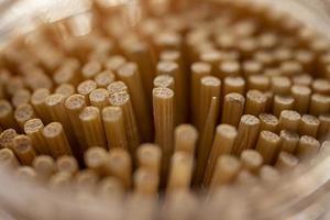 close up de palitos de bambu