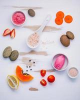 ingredientes para cuidados com a pele e esfoliantes corporais