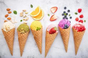 sorvete com sabor de frutas