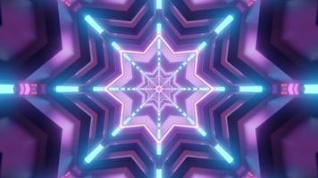Ilustração colorida da estrela do caleidoscópio 3D para plano de fundo ou textura foto