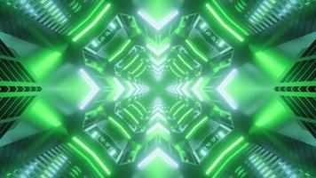 Ilustração do projeto do caleidoscópio 3D em tons verdes para plano de fundo ou textura foto