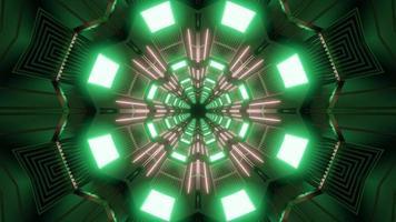 ilustração de design de caleidoscópio 3D verde e cinza para plano de fundo ou textura foto