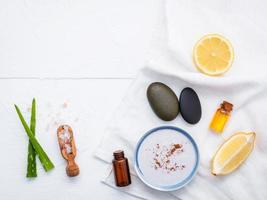 itens naturais para a pele e esfoliantes corporais foto