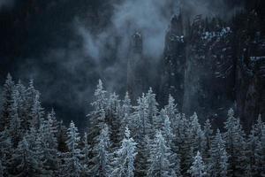 manhã fria nas montanhas foto