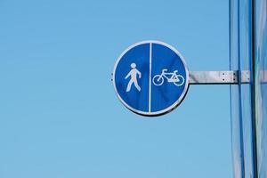 sinal de trânsito para bicicletas na cidade de bilbao, espanha foto