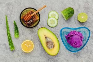 vista superior de produtos orgânicos para a pele