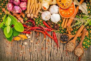 variedade de especiarias para cozinhar foto