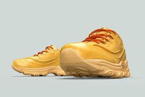 3D par de sapatos elegantes em fundo cinza