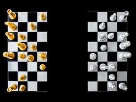vista superior de um tabuleiro de xadrez