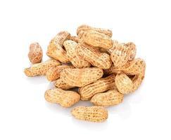 amendoim seco em um fundo branco foto