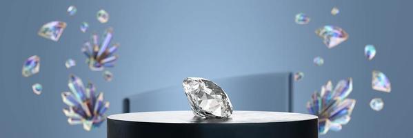 close-up de diamantes no pódio com fundo de cristal colorido foto